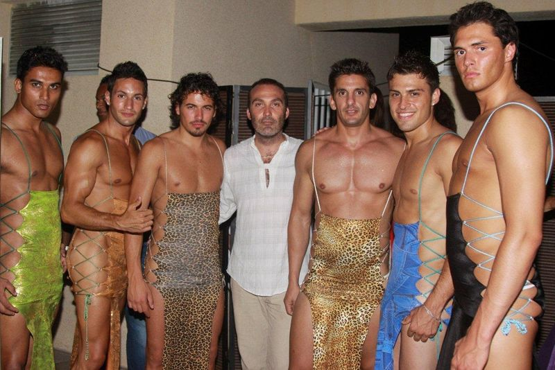 Models with OM collection designer Mark Montovio