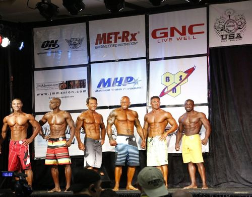2012 NPC Men's Physique Masters Nationals - John Quinlan 3rd from right