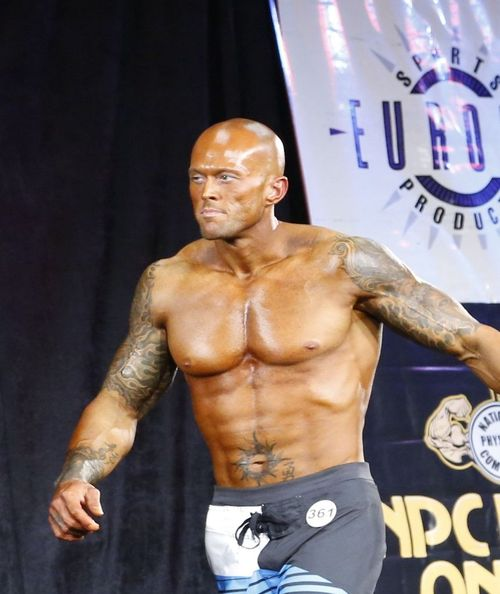2012 NPC Men's Master's National Physique Competitor John Quinlan on Stage